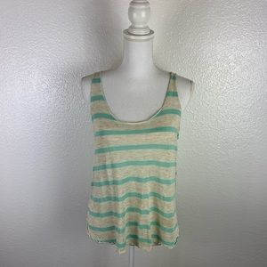 Tops - Teal & Beige Tank Top Size Large w/pink dots